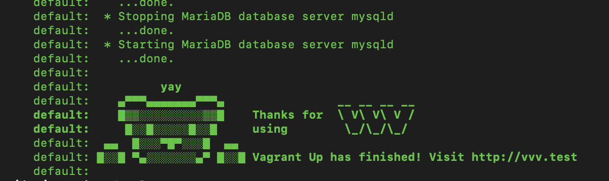 new vagrant up end message